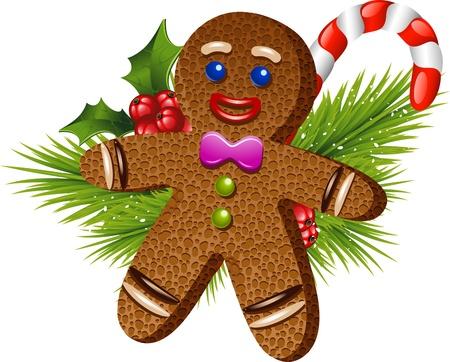 ginger cookies: La Navidad del hombre de pan sobre blanco. EPS 10