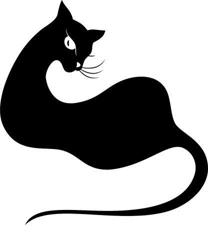 Black cat  Silhouette on white  Vector