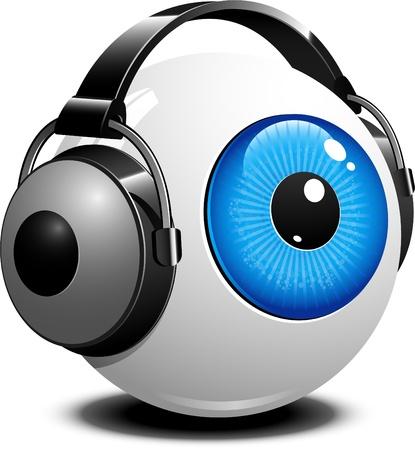 globo ocular: Olho com fones de ouvido sobre o branco Ilustra��o