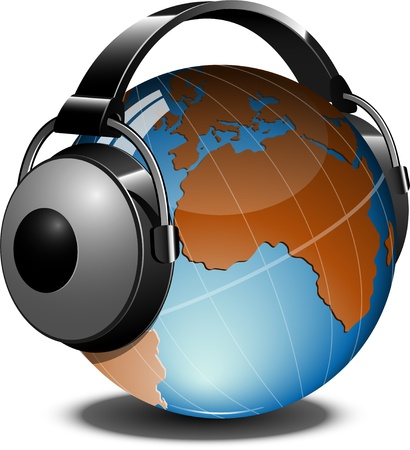 country music: Globe with headphones