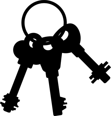 Bunch of keys. Silhouette over white.  Vector