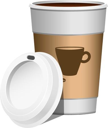 caf� � emporter: Caf� continuer, sur fond blanc EPS 10
