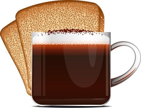 non alcohol: Taza de caf� y tostadas en un fondo blanco EPS 10 Vectores
