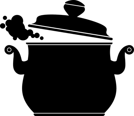 boiling: Cooking Pan  silhouette  over white