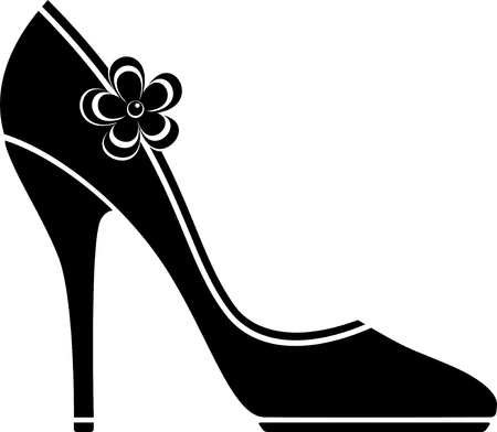 High heel shoes (silhouette) over white.  Illustration