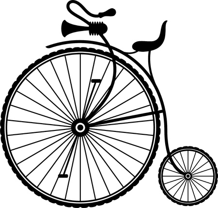 spoke: Silhouette of a vintage bicycle on a white background.  Illustration
