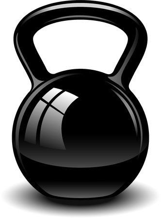 barbell: Kettle bell over white.