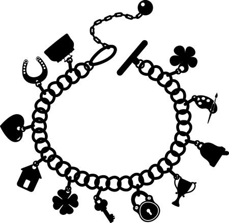 bracelet de charme, silhouette sur un fond blanc
