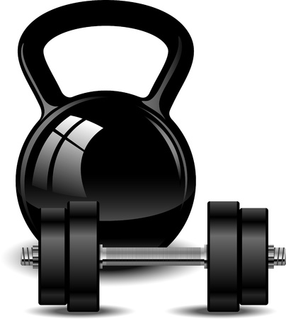 weightlifting equipment: Kettlebell and dumbbell over white.