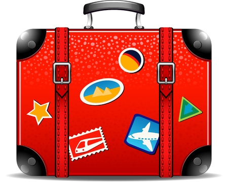travel locations: Travel suitcase over white