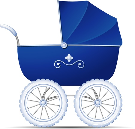 Carro de bebé azul sobre blanco Ilustración de vector