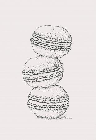 Bitterkoekje. Frans koekje (inkttekening)