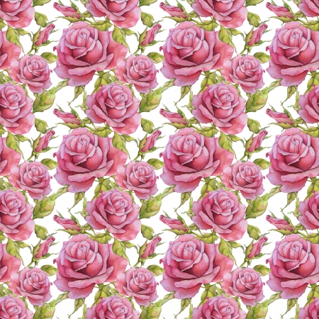 seamless pattern with watercolor roses photo