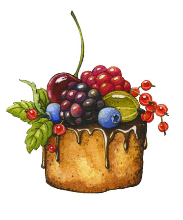 blueberry pie: Berry cake on a white background. Watercolor illustration Stock Photo