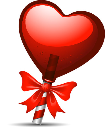 Red heart lollipop over white background Vector