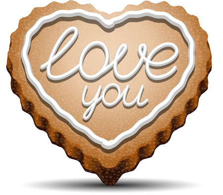 gingerbread heart: Cookie in the shape of a heart with the inscription love you.