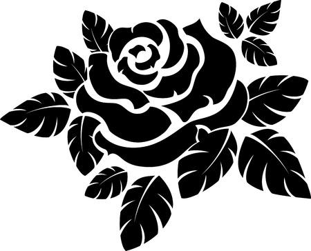 tatouage fleur: Vecteur rose silhouette isolé sur blanc