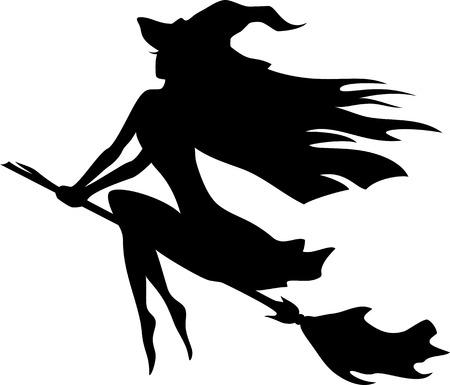 strega che vola: Vector silhouette di una strega volare su un manico di scopa