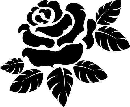 flower rose: Vector rose silhouette isolated on white