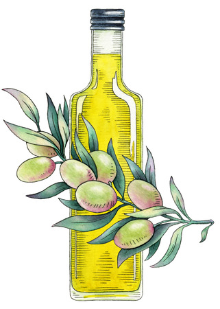 condiments: Olive oil. Watercolor illustration on a white background