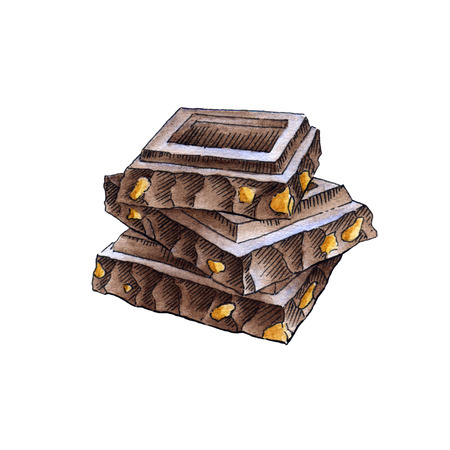 chocoholic: Stack of chocolate on a white background. Watercolor illustration