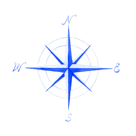 Watercolor illlustration of compass on white background