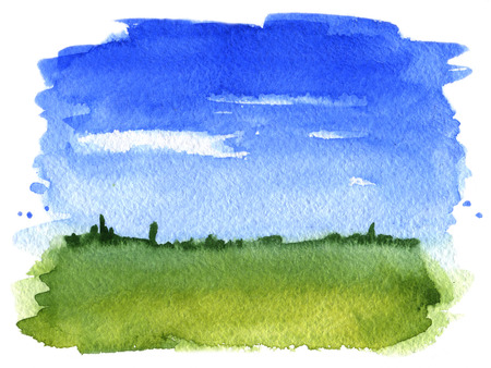 Summer landscape  Watercolor illustration Stock Photo