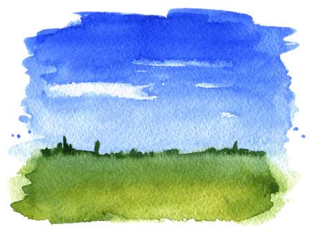 grass sky: Summer landscape  Watercolor illustration Stock Photo