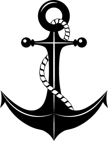 nautical rope: Anchor. Vector illustration over white background.