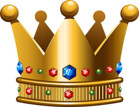 sapphire: Golden crown on a white background