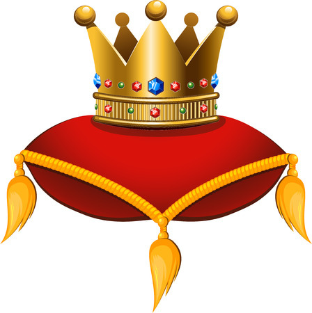 Gold crown on a crimson cushion. Vector illustration on a white background. Vector