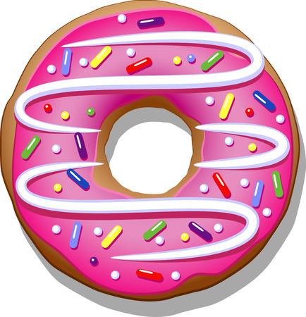 caramel sauce: Donut with pink icing on a white background. Illustration