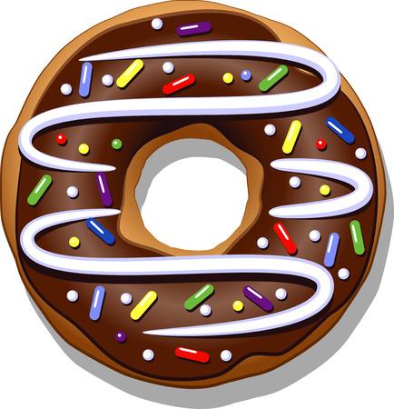 doughnut: Chocolate donut isolated on a white. Illustration