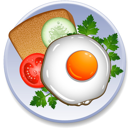 fried egg: Fried egg, toast and vegetables on the plate Illustration
