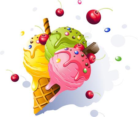 Ice Cream. Vector illustration on white background. 向量圖像