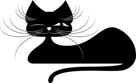 Gato negro. Silueta sobre un fondo blanco Vectores
