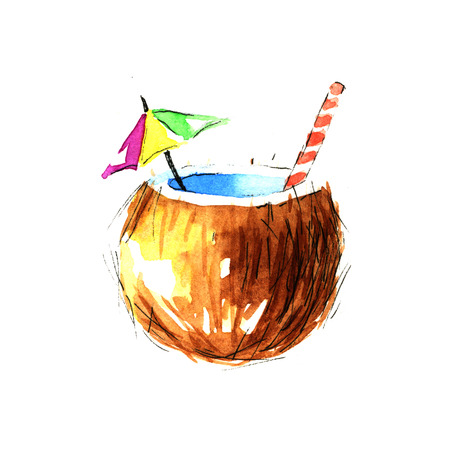 cocktail straw: Coconut cocktail. Watercolor illustration on a white background