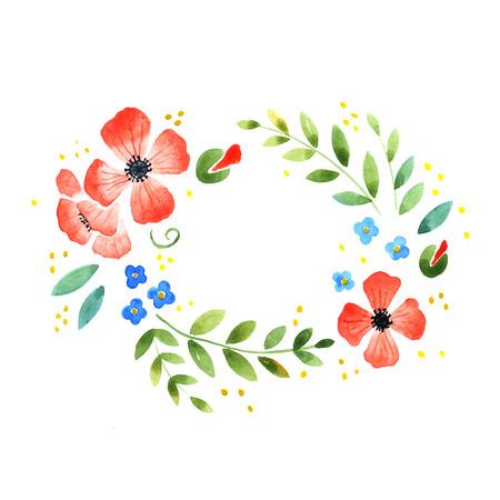 ovalo: Acuarela floral elemento decorativo sobre un fondo blanco