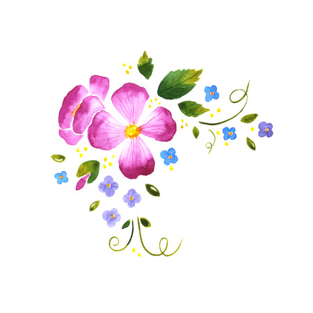 vintage rose: Watercolor floral decorative element on a white background
