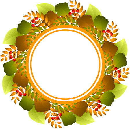 color image: Autumnal round frame on a white background