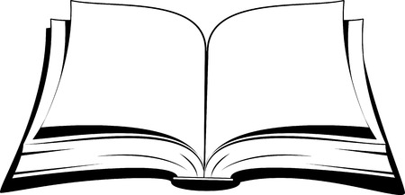 libraries: Open book on a white background. Vector illustration.