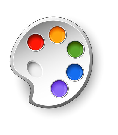 tempera: Art palette with paints on a white background. EPS 10 Illustration