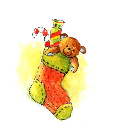 christmas stocking: Christmas stocking with gifts. Watercolor illustration