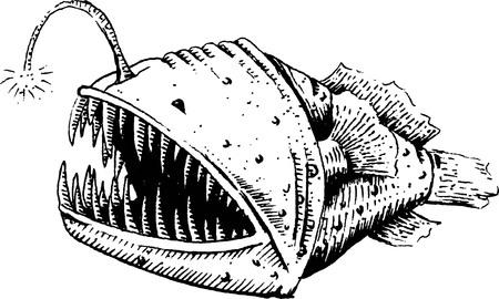 Fish-dog, fish, angler or sea devil, illustration, sketch. Illustration