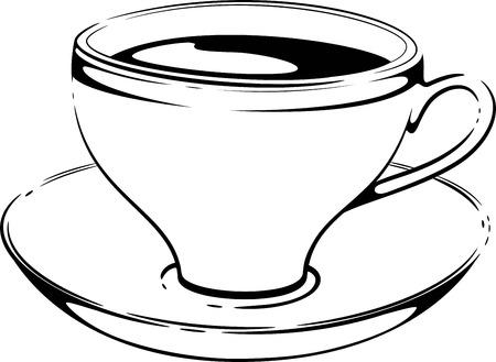 lijntekening: Kop koffie. Schetsen. Vector op wit. Stock Illustratie