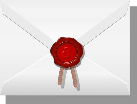 sealed: Envelope sealed with wax. Vector illustration on white background. eps 10 Illustration