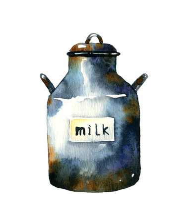 Can of milk. Watercolor illustration on a white background