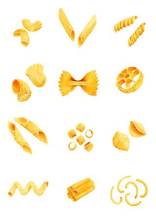 파스타의 다양성. 수채화 그림