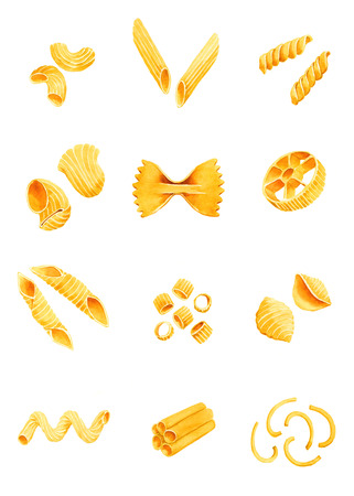 Varieties of pasta. watercolor illustration