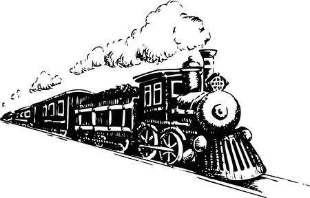 古い蒸気機関車。白のベクトル図です。